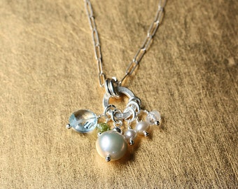 Pearl Charm Necklace, Mom's Necklace, Real Pearls, Gemstone Necklace, Sterling Silver Chain, Blue Topaz Necklace, Peridot, Gifts for Mom