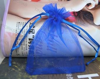 100pcs Royal Blue Organza Gift Bag with Ribbon Draw String--2.75''x3.54''