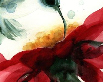 Hummingbird Art Print, Hummer with Red Flower, 8 x 10 Bird Art