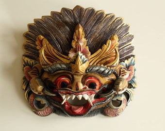 Indonesian Balinese Barong Animal Dance Mask Hand Pained Hand Carved Wall Decor Sculpture