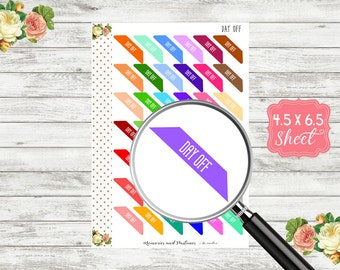 Day Off Corner Stickers - Day Off Planner Stickers - Day Off Sticker - Day Off Corner Banner - Work Planner Sticker - Day Off Banner - H102