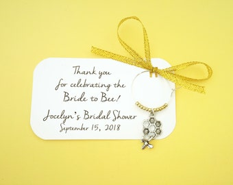 Bride to Bee Bridal shower wine charm favors: 1 charm set. Bumble Bee Favors & Honey Bee themed Party Decor. 1 to 50 favors.