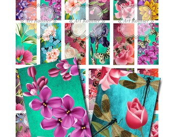Floral Pendant Images Digital Download Pendant Jewelry Domino Collage Sheets Floral 1x2 Digital Collage Sheet Printable Scrapbook Elements