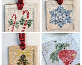 BS Christmas Tree Ornaments, Ready To Ship Hand Painted Ornaments, holiday ornaments,   Candy Cane, Snowflake,Christmas Bell, Christmas Tree