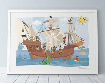 Jolly Roger Pirate Ship Print