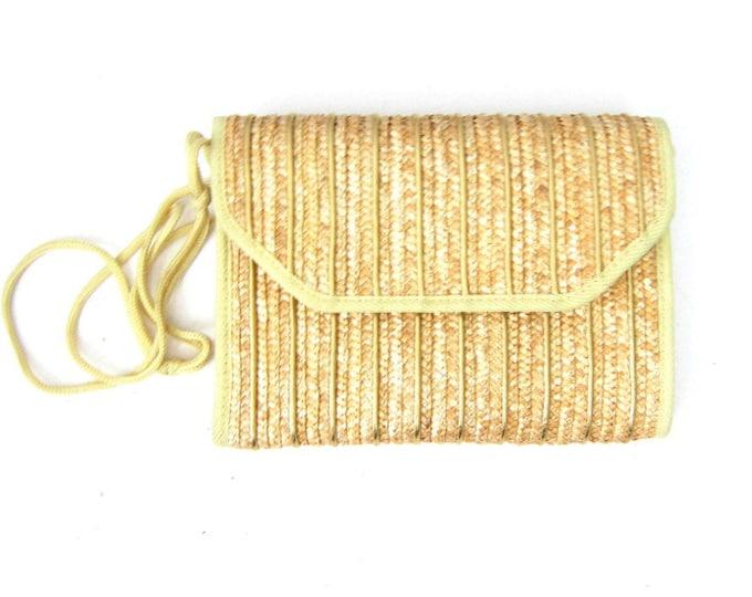 Minimal Woven Straw Purse Wicker Clutch Minimal Natural Beach Handbag Purse 80s Weave Purse Preppy Boho Hippie Summer Bag Envelope Clutch