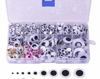 1100pcs Mixed Sizes Self-adhesive Googly Wiggle Eyes for DIY Toy Scrapbooking Crafts Projects Decoration Supplies