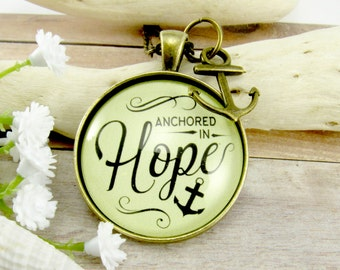 Anchored in Hope Hope is My Anchor Pendant Necklace Bible Verse Jewelry Anchored in Christ Hope Necklace Nautical Faith Necklace