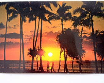 Sunset Hawaii Postcard  1985 with stamp / Sunset Postcard / Palm Trees Postcard  /