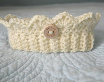 Baby Crown Headband, ear warmer, Photo Prop, Newborn to 3 plus Months, Stretch Headband Crown, Handmade, Ready to Ship