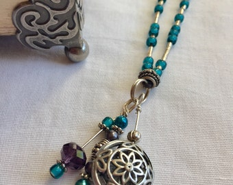 Blue and Purple Glass Crystal Mixed Metal and Leather Necklace