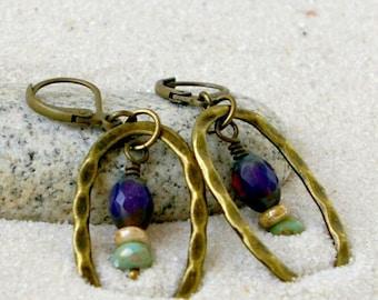 Boho Dangle Earrings - Gift for Mom - Purple Boho Earrings - Gift Idea - Bead Earrings - Bohemian Style - Purple and Green Series