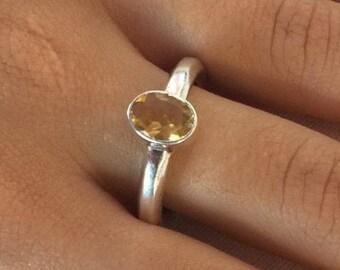 Citrine silver ring, Citrine Ring size 7, Silver citrine ring, November Birthstone Ring, Oval citrine ring, Yellow citrine ring, Citrine,