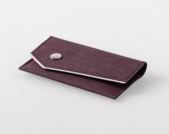 Bordered Angled Washable Paper Business Card Case in Uluru Red