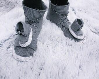 Crochet Shoes Crochet slippers  Crochet Sneakers Slippers for men, Hand knit slippers, Winter slippers, Adult slippers, Slippers crochet,