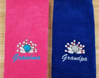 Bowling Towel Embroidered Bowling Towel Monogrammed Towel Personalized Towel