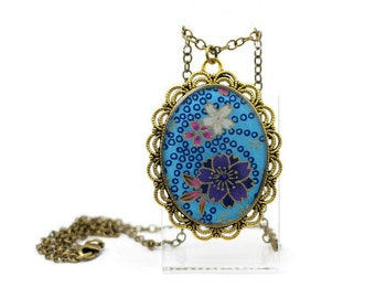 Sakura pendant necklace, Purple cherry blossom necklace, Japanese paper, Sakura necklace, Blue necklace, Cherry blossom necklace