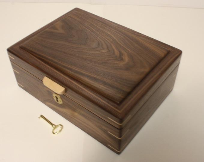Locking Handmade Black Walnut Wood Box. Valet Box, Keepsake Box, Gun Box, Secretary Box, Lift Out Tray, Adjustable, Removable Dividers