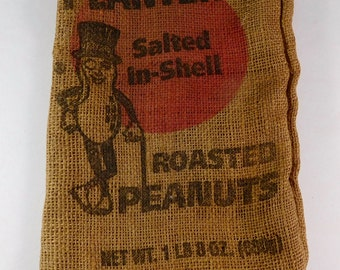 Vintage Planters Peanuts 1 lb 8 oz Burlap Bag - FREE SHIPPING