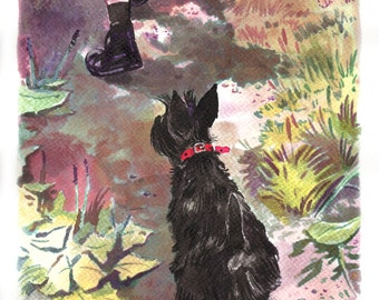 Daily walk with scottish terrier original ink painting
