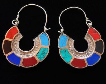 E6341 - Awesome Vintage Style Afghani Tribal  Hoop Earrings - Boho Gypsy