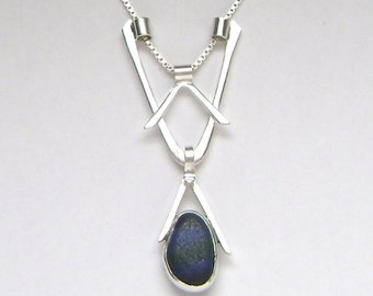 Sea Glass Jewelry - Sterling Rare Victorian English Sea Glass 3 in 1 Necklace