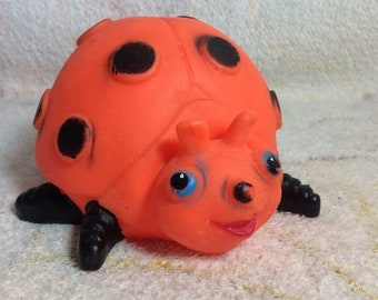 CLEARANCE Vintage Rubber Squeaker Lady Bug Toy Working Squeak Retro Kids Toys
