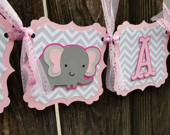 It's a girl eIephant banner - It's a girl banner - elephant themed baby shower banner - pink grey elephant banner - It's a girl sign