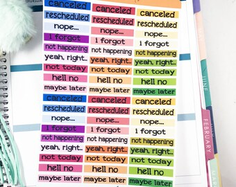 Snarky Canceled Stickers | Rescheduled Stickers for Erin Condren Planner  / Fun Canceled Planner Stickers, Adult Canceled Stickers