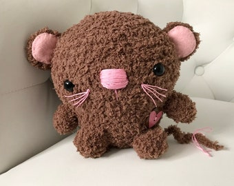 FREE US SHIPPING Amigurumi Mouse Stuffed Animal Gift Ooak Plush Plushie Soft Softie Cute Collectable