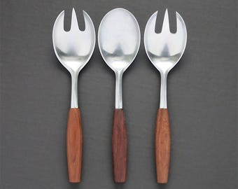 Vintage Dansk Fjord Serving Pieces - Spoon Fork Spork Teak Wood Handle - Mid Century Flatware Stainless Steel Made in Germany