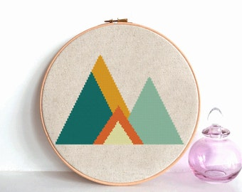Forest Cross Stitch Pattern Geometric Mountains Geometric Scandinavian Woodland cross stitch Modern cross stitch Mid Century