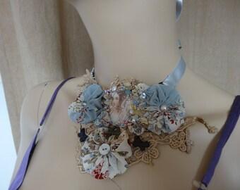 Necklace textile fabric and silk yoyos engraving
