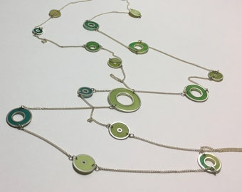 Long Sterling Silver Necklace with Resin Hoops in Greens and Yellow