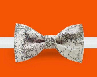 Map Bow Tie- Grey Bowtie -geography bowtie - travel bowtie - world traveler gift
