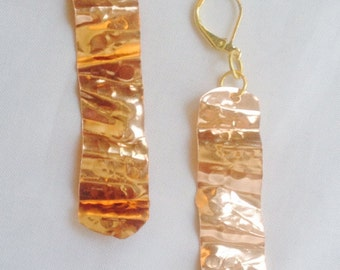 Zig Zag Hammered Copper Earrings