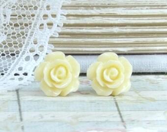 Yellow Rose Earrings Yellow Stud Earring Yellow Rose Studs Rose Stud Earrings Surgical Steel Studs