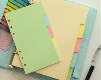 Colored Dividers with Tabs Cardstock Planner dividers Dashboard, Filofax Planner, A5 Size