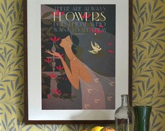 Original Design Art Deco Henri Matisse Flowers Poster Print Bauhaus Vouge 1920's Romantic Garden Floral Bird