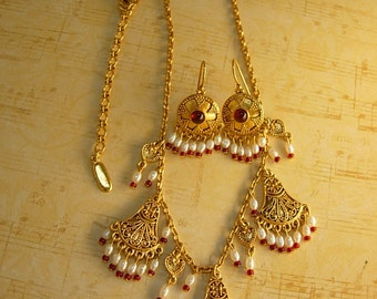 Signed Byzantine earrings and necklace Ben Amun golden globes