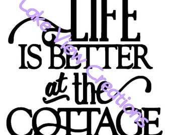 "Life is Better at the Cottage Permanent Vinyl Decal Sticker 5"" x 5"""
