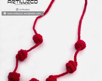 Red Irisbo, Crochet necklace, Necklace in natural fibers, Handmade knitted necklace