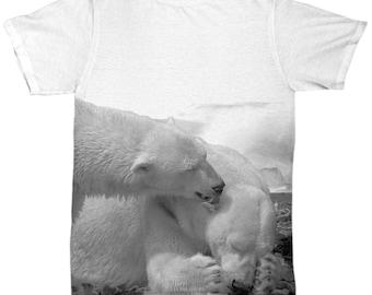 All Over Animal Print TShirt - Polar Bear Family Scene