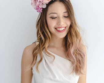 pastel statement flower crown // pink spring racing flower crown / spring races flower crown headband / flower fascinator bohemian