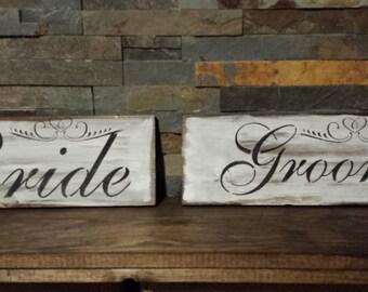 BRIDE/GROOM SET Wedding Signs/Rustic/Shabby Chic Wedding Table Signs