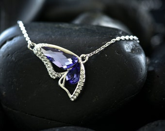 Tanzanite Butterfly Wing - Featuring  Swarovski Crystal set in a Rhodium finish
