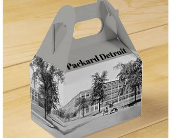 Detroit Packard Plant in full panoramic Gable Favor Box + Coaster