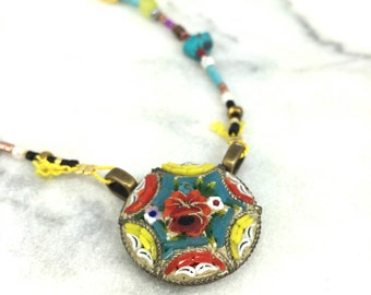 Vintage Micro Mosaic Necklace, Gold Necklace, Gemstone Necklace, Turquoise Necklace, Micro Mosaic Jewlery, Gold Filled