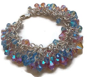 Custom Swarovski AB2X Crystal Charm Bracelet in Silver - Made to Order - 32 Colors Available