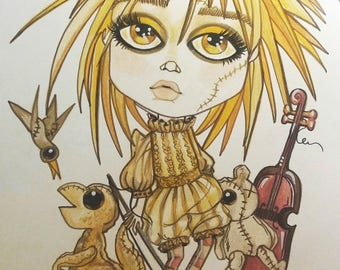 Bad Baby Music Party Lowbrow Big Eye Art Print by Leslie Mehl